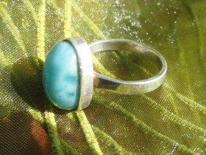 LARIMAR GEMSTONE RING In Sterling Silver (Size 7.5) - Earth Family Crystals