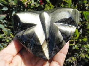 Absolutely Magnificent GOLDEN SHEEN OBSIDIAN BUTTERFLY SELF STANDING DISPLAY SPECIMEN - Earth Family Crystals