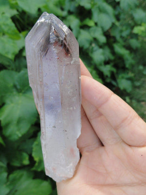 CLEAR QUARTZ POINT With Inclusions of Amethyst, Smokey Quartz, Hematite* - Earth Family Crystals