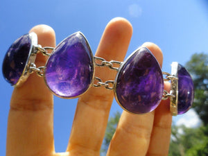 Deep Dark Purple AMETHYST Sterling Silver Bracelet - Earth Family Crystals