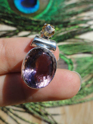 FACETED AMETHYST & CITRINE Sterling Silver Pendant (Includes Free Silver chain) - Earth Family Crystals