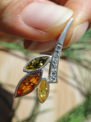 Green, Cognac, Lemon BALTIC AMBER  PENDANT In Sterling Silver (Includes Free Silver Chain) - Earth Family Crystals
