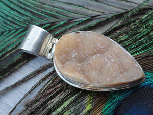 Sparkling YELLOW AGATE DRUZY PENDANT IN STERLING SILVER (INCLUDES SILVER CHAIN) - Earth Family Crystals