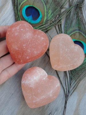 Puffy Pink HIMALAYAN SALT Crystal Heart - Earth Family Crystals