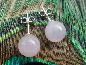 ROSE QUARTZ  8mm STUD EARRINGS In Sterling Silver - Earth Family Crystals