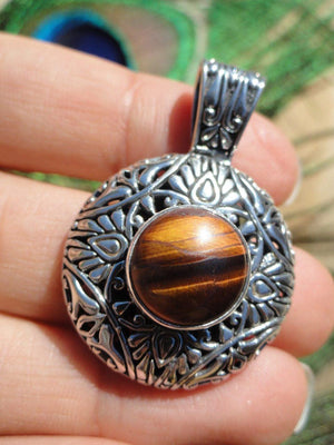 TIGER EYE PENDANT In Sterling Silver (Includes Silver Chain) - Earth Family Crystals