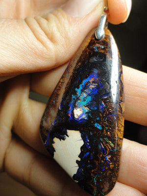 AA Quality Australian BOULDER OPAL PENDANT In Sterling Silver (Includes Silver Chain) - Earth Family Crystals