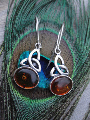 Triquetra BALTIC AMBER EARRINGS In Sterling Silver - Earth Family Crystals