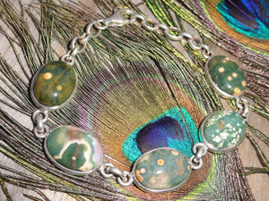 Beautiful OCEAN JASPER BRACELET In Sterling Silver - Earth Family Crystals