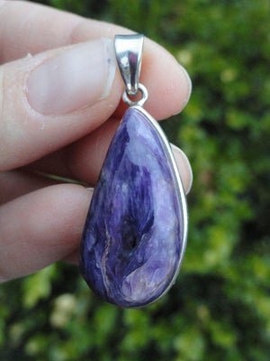 Gorgeous Purple CHAROITE PENDANT * Includes Free Silver Chain - Earth Family Crystals