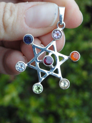 Star of David FACETED STONES CHAKRA PENDANT In Sterling Silver (Includes Silver Chain) - Earth Family Crystals