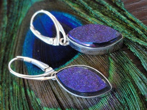 TITANIUM DRUZY QUARTZ EARRINGS In sterling Silver - Earth Family Crystals
