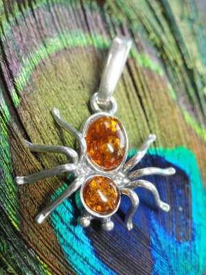 BALTIC AMBER SPIDER PENDANT In Sterling Silver (Includes Silver Chain) - Earth Family Crystals