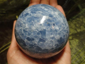 Amazing Large BLUE CALCITE SPHERE* - Earth Family Crystals