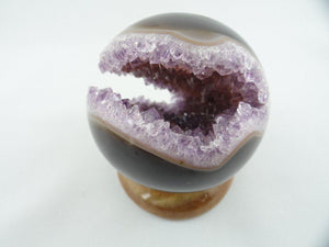 AMETHYST GEODE SPHERE From Uruguay (Includes Agate Stand) ~ Stone of Protection, Purification, Spirituality* - Earth Family Crystals