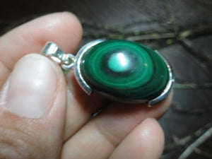 MALACHITE PENDANT In Sterling Silver (Includes Silver Chain) - Earth Family Crystals