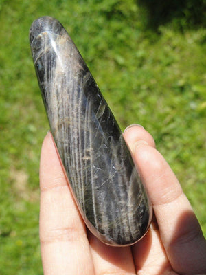 BLACK MOONSTONE WAND~Stone of Protection for Travelers - Earth Family Crystals