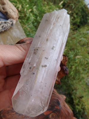 Luscious Soft Pink Danburite Point With Internal Pyrite Inclusions - Earth Family Crystals