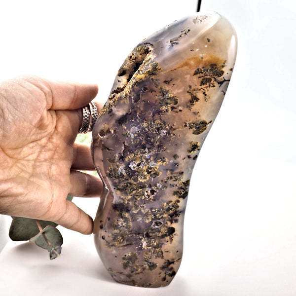 Unique  XL 1 KG Dendritic Agate Partially Polished Standing Free Form Specimen From Madagascar