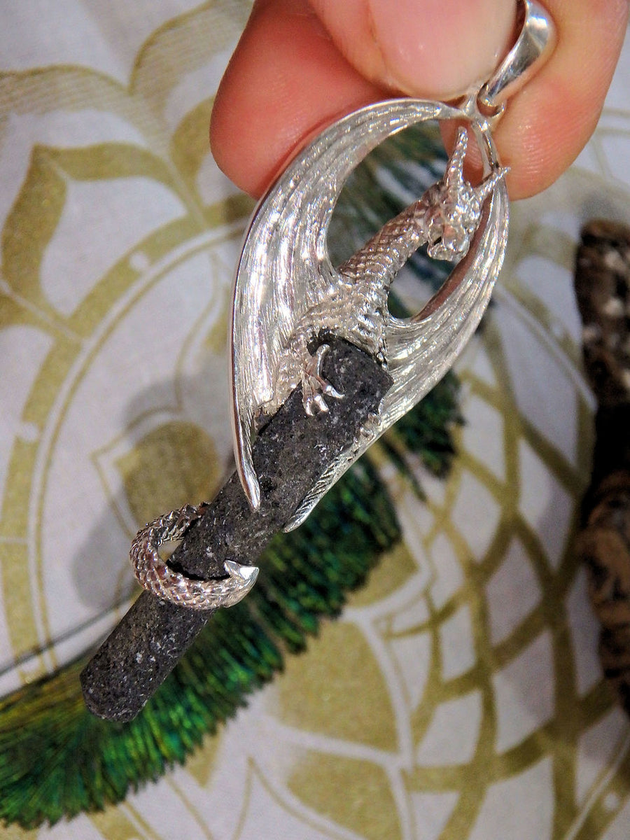 Mystical Dragon & Lava Stone Pendant in Sterling Silver (Includes Silver Chain) - Earth Family Crystals