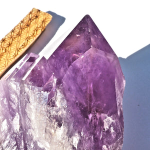 Incredible XL Bolivian Unpolished Elestial Ametrine Standing Display Specimen