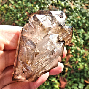 HIgh Vibration Double Terminated  Elestial Smoky Quartz From Brazil With Self Healing