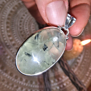 Light Code Prehnite & Epidote Inclusions Pendant Sterling Silver (Includes Silver Chain)
