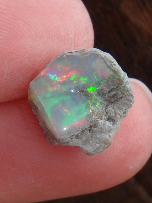 Mega Green & Red Flash Raw Ethiopian Opal Small Collectors Specimen 3 - Earth Family Crystals
