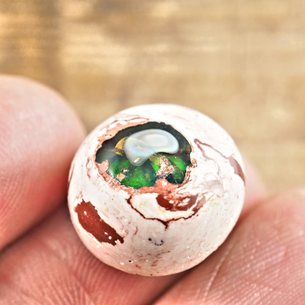 Sparkling Mexican Fire Opal Button Cabochon #1