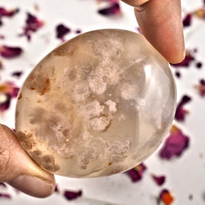 NEW! Creamy Pink & Clear Small  Flower Agate Palm Stone From Madagascar #1