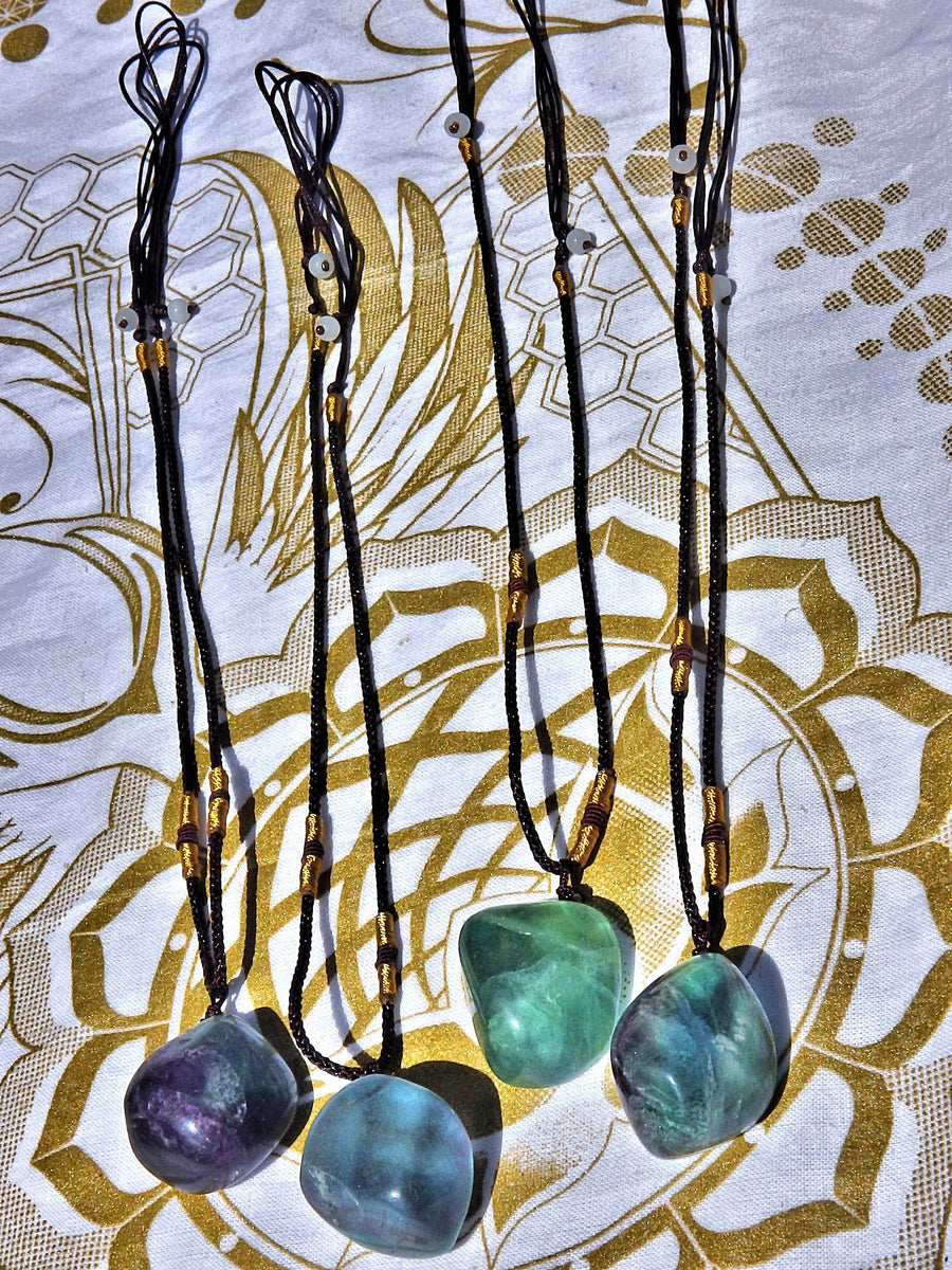 Beautiful Vibrant Polished Fluorite Stone Necklace on Adjustable Cord (1)