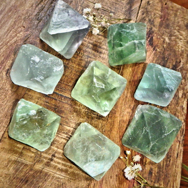 Set of 2 Natural Green Octahedron Fluorite Hand Held Specimen