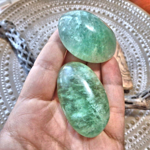 Peaceful Radiance Set of 2 Green Fluorite Pocket Stones