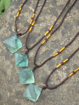 Vibrant Green Fluorite Natural Octahedron Necklace on adjustable Cord (1)