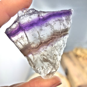Layers of Purple, Pink & Clear Fluorite Partially Polished Slice