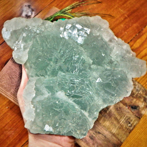4.8 LB Huge Cubic Ice Green Fluorite Natural Specimen Perfect for Display - Earth Family Crystals