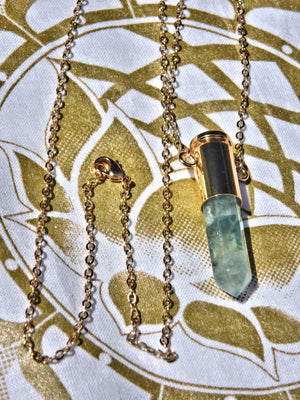 Green Fluorite Bullet Point Necklace on Golden Chain