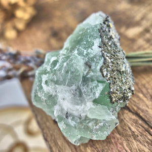 Raw Green Fluorite Chunk with Dusting of Druzy Quartz & Pyrite