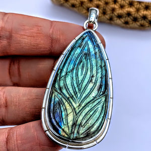 Fabulous Flower Carved Large Labradorite Pendant in Sterling Silver (Includes Silver Chain) #1