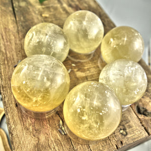 Gorgeous Optical Golden Honey Calcite Sphere Carving (1)