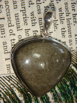Glossy Golden Sheen Obsidian Pendant in Sterling Silver (Includes Silver Chain) - Earth Family Crystals