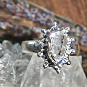 Pretty DT Herkimer Diamond Quartz Sterling Silver Ring (Size 9)