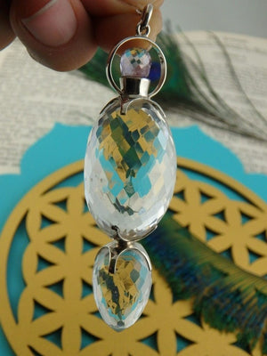 Amazing High End Faceted Himalayan Quartz Pendulum In Sterling Silver - Earth Family Crystals