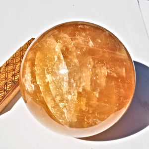Jumbo Supreme Massive Golden Honey Calcite Sphere carving