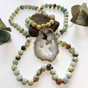 Sparkling Druzy Quartz & Frosted Amazonite Beaded Long Mala Style Necklace