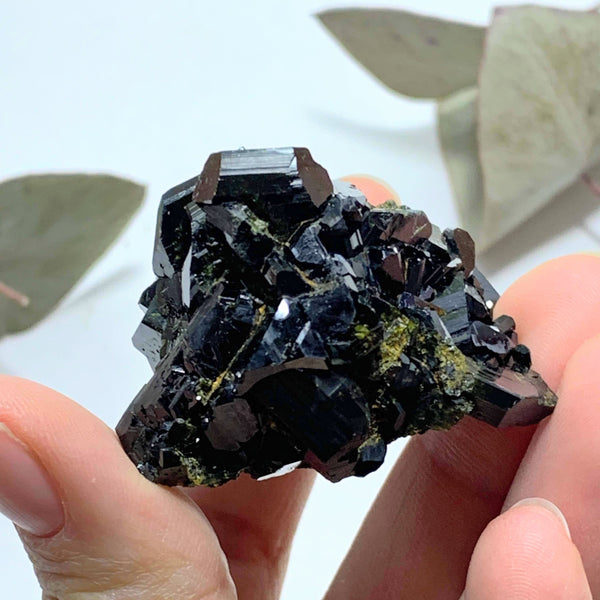 Fascinating Deep Forest Green Natural Epidote Cluster - Earth Family Crystals