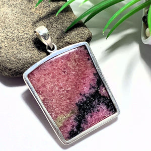 Chunky Raspberry Red Rhodonite Pendant In Sterling Silver (Includes Silver Chain)