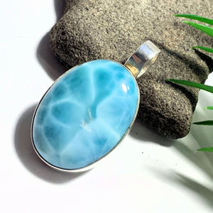 Deep Ocean Blue Larimar Large Sterling Silver Pendant (Includes Silver Chain)