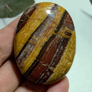 Stripped Zebra Red Jasper Smooth Worry/Pocket Stone From India #3