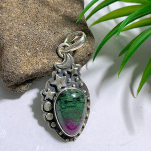 Ruby Zoisite Gemstone Sterling Silver Pendant (Includes Silver Chain)